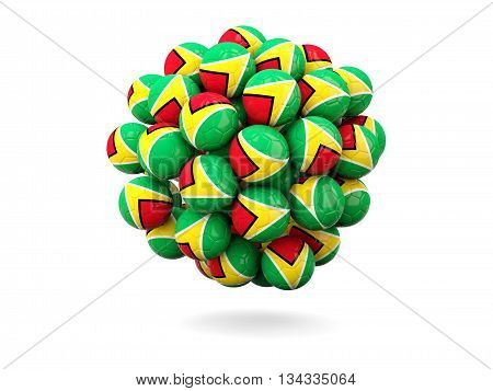 Pile Of Footballs With Flag Of Guyana