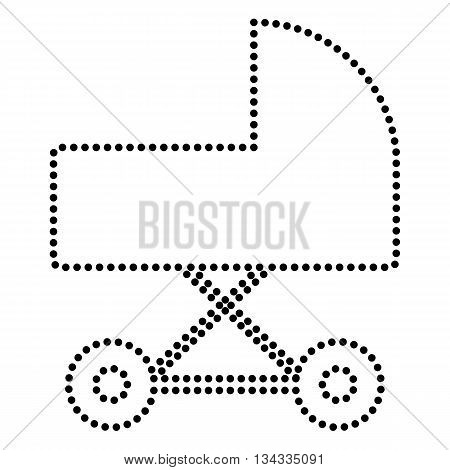 Pram sign illustration. Dot style or bullet style icon on white.