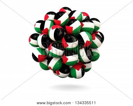 Pile Of Footballs With Flag Of Palestinian Territory
