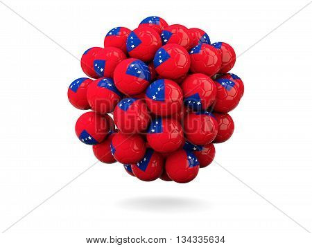 Pile Of Footballs With Flag Of Samoa
