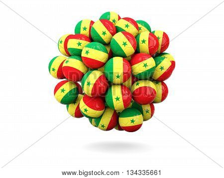 Pile Of Footballs With Flag Of Senegal