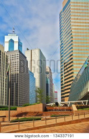 HONG KONG, DECEMBER 11, 2014: Hong Kong Special Administrative Region. The modern city on the ocean coast. Square in downtown
