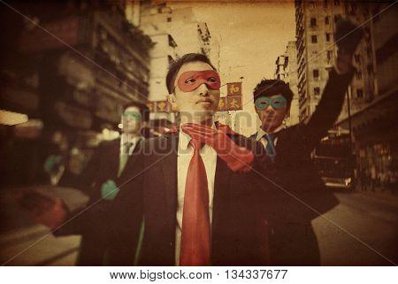 Asian Business Superheros Confidence Concept