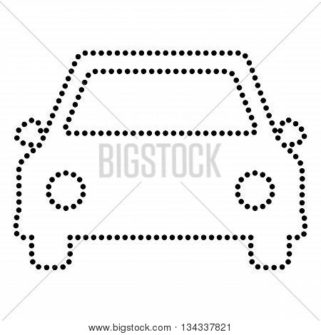 Car sign illustration. Dot style or bullet style icon on white.