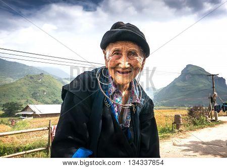 SAPA, VIETNAM, February 19, 2016 portrait of the elderly, ethnic Hmong, high mountains, Sapa, Vietnam.