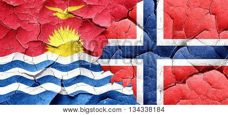 Kiribati flag with Norway flag on a grunge cracked wall