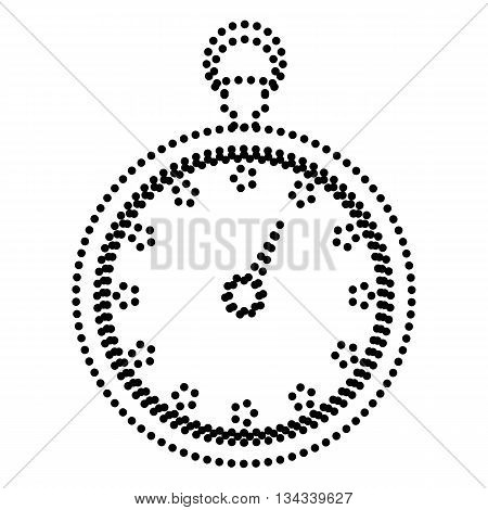 Stopwatch sign illustration. Dot style or bullet style icon on white.