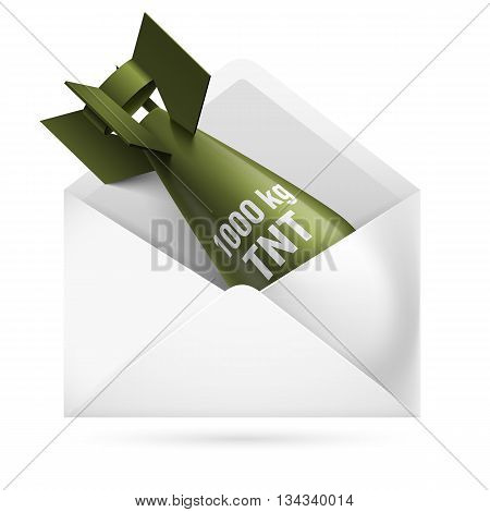 Isolated green rocket in a white envelope