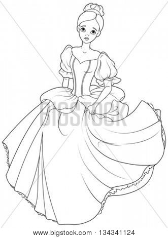 Cinderella flees the ball coloring page