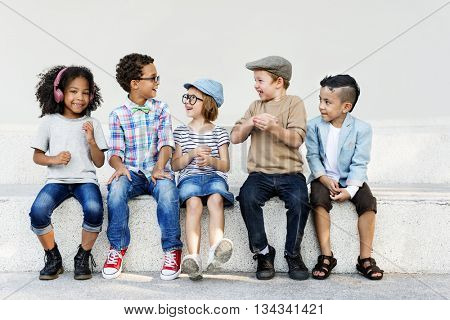 Smart Fashionable Cheerful Children Concept