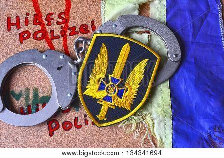 ILLUSTRATIVE EDITORIAL.Chevron of Ukrainian pro-american Security Service of Ukraine, the SBU.Special Forces Alfa.June 13,2016 in Kiev, Ukraine