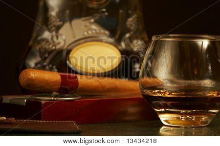 classic cognac bottle, cigar