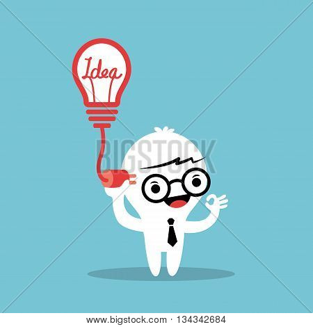 plugging light bulb with cable into the head idea conceptual illustration