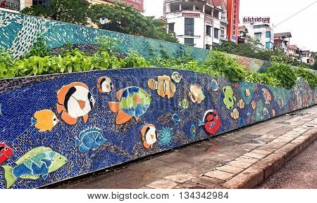 HA NOI, VIET NAM, April 28, 2016 ceramic road, next to Hong River dyke, city Hanoi, Vietnam