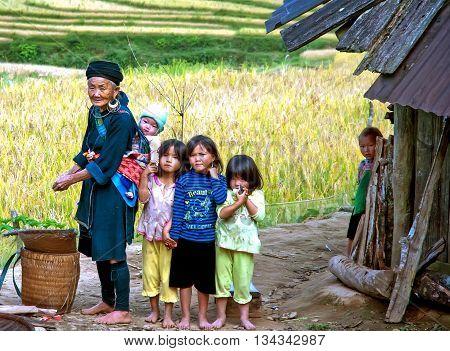 YEN BAI, VIETNAM, September 12, 2015 older women, ethnic Hmong, the grandchildren, the high mountains, Yen Bai