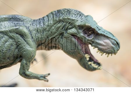 tyrannosaurus toy stands on rock close up
