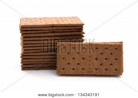 chocolate flavor sandwich biscuits on a white background