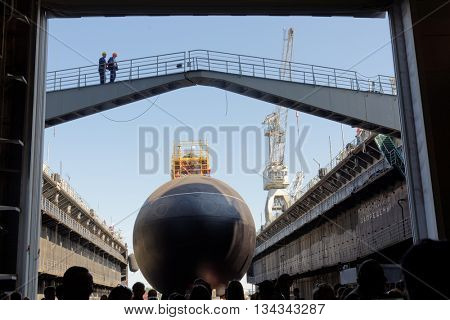 ST. PETERSBURG, RUSSIA - MAY 31, 2016: Ceremony of launching the submarine Kolpino in the Admiralty Shipyard. The submarine will be included in the Black Sea Fleet