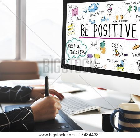 Positive Thinking Simple Life Graphic Concept