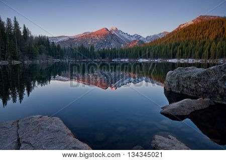 Longs Peak reflects in the still waters of bear Lake In Rocky Mountain national park