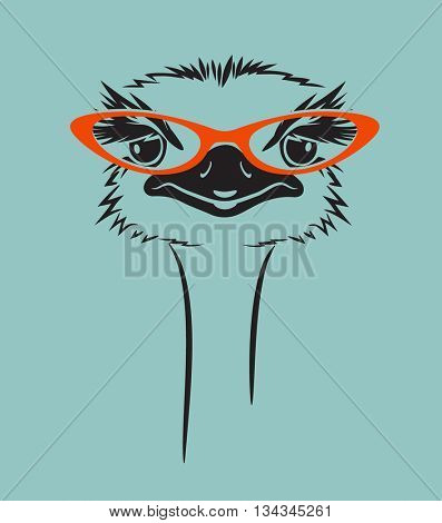 funny vector illustration of an ostrich wearing glasses. For t-shirt, poster, print design