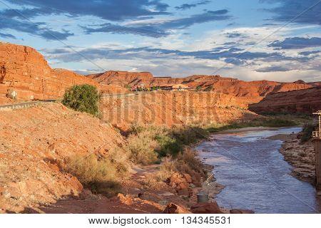 San Juan River Running Through Mexican Hat Town, Utah,  Usa