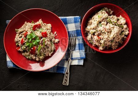 Salad Couscous With Tuna, Bell Pepper, Cucumber, Red Onion And Green Beans