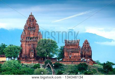 Ninh Thuan, Vietnam, August 16, 2015 Cham towers, rural, Ninh Thuan province, Vietnam