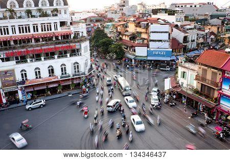 HA NOI, VIET NAM, April 29, 2016 Traffic Old Quarter, Ha Noi. Vietnam. View from above