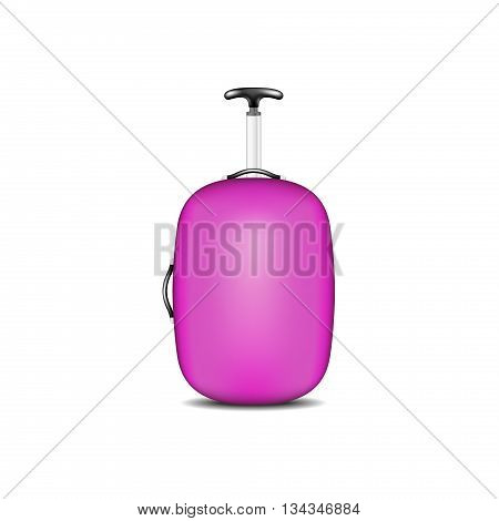 Travel suitcase in purple design on white background