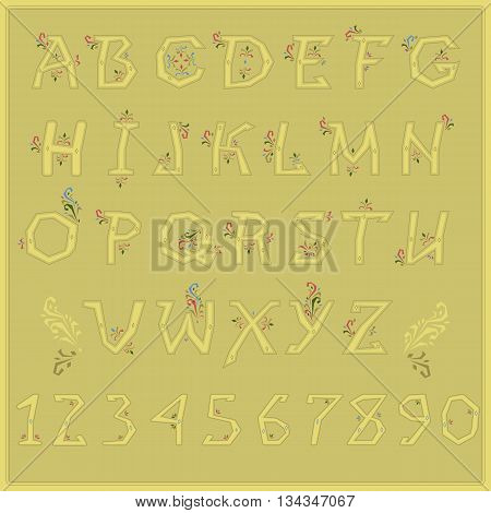 Country Floral font. Folk artistic alphabet. Yellow letters with red and green floral decor. Illustration.
