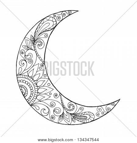 Ramadan Kareem half moon. Greeting design coloring page. Engraved vector illustration. Sketch for decoration poster print t-shirt.