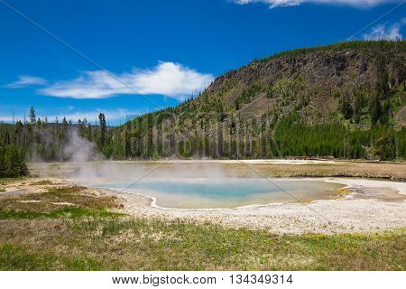 Geyser, nature, waterfall, Pool at Yellowstone Lake in Yellowstone National park,Wyoming.usa.