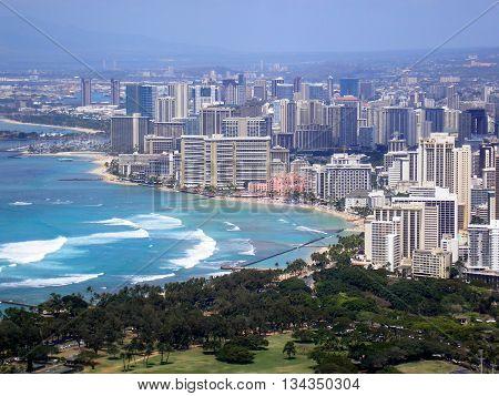 Waikiki, Hawaiian city, elevated view, Island of Oahu, View from Diamond Head,