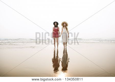 Beach Relaxation Explore Journey Girl Woman Concept