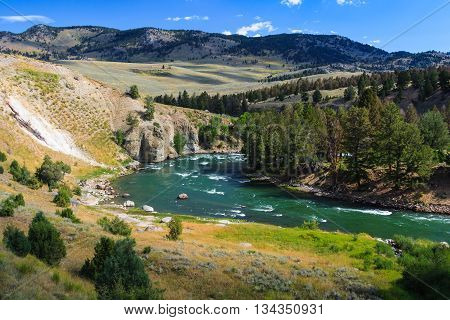 Yellowstone River At Yellowstone National Park, Wyoming,  Usa
