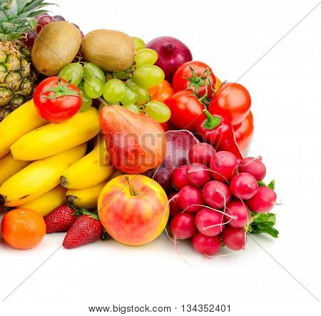 Collection juicy fruits and vegetables isolated on white