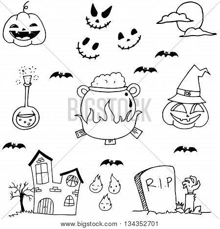 Scary element halloween in doodle vetor illustration