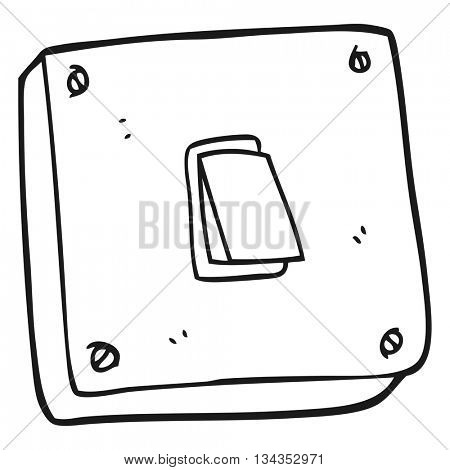 freehand drawn black and white cartoon light switch