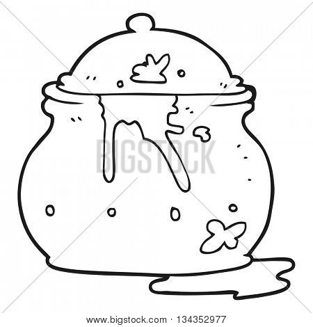 freehand drawn black and white cartoon messy mustard pot