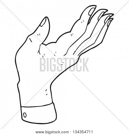 freehand drawn black and white cartoon open hand raised palm up