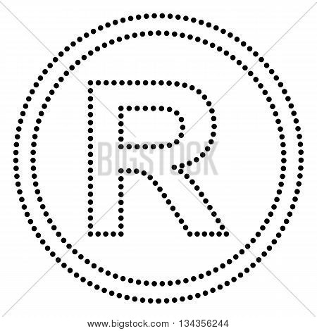 Registered Trademark sign. Dot style or bullet style icon on white.