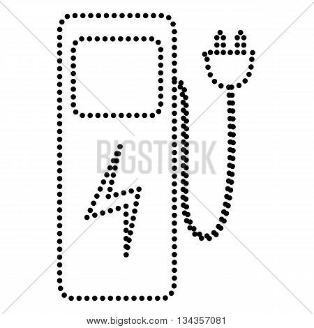 Electric car charging station sign. Dot style or bullet style icon on white.