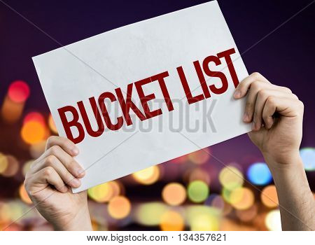 Bucket List placard with night lights on background