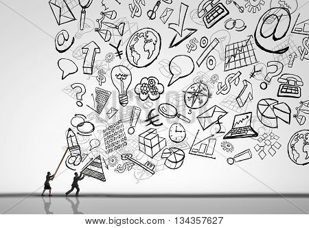 Business management challenge as a businesswoman and businessman controlling the deluge of corporate office issues as drawings of economic symbols being held back by manager professionals in a 3D illustration style.