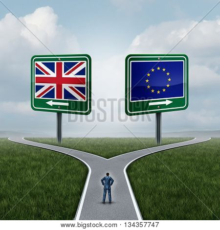 Britain European Union question as a brexit concept pertaining to the UK vote confusion and Euro zone and Europe membership British decision as a person standing on a crossroad dilemma with flags on road signs with 3D illustration elements.