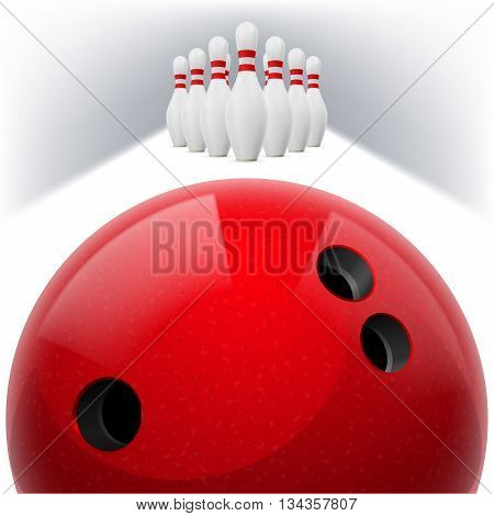 Red Bowling ball with holes in front. White skittles with red stripes on a white background