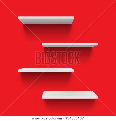 Horizontal gray bookshelves on red background for design