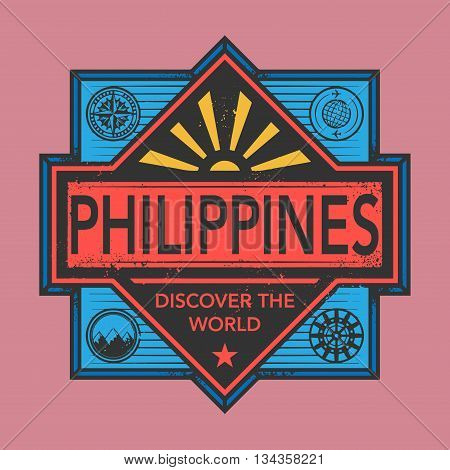 Stamp or vintage emblem with text Philippines, Discover the World, vector illustration