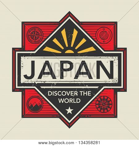 Stamp or vintage emblem with text Japan, Discover the World, vector illustration